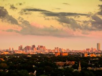 Boston Skyline - Pink Panoramic