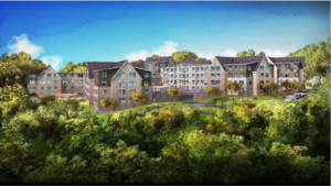 Applicant's artist rendering of the 296-unit complex from North Border Road.  The trees in the foreground will not exist, as the complex is very close to homes on all sides in Winchester. Significant grading will result in the loss all trees within and surrounding the proposed work.