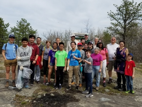 Friends Volunteers Clean Up the MIT Geodetic Observatory Trail and Historic Site on Park Serve Day