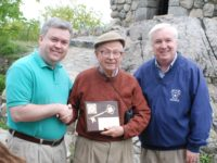 Mayors Dolan and McGlynn present the key to the City of Melrose to great great grandson of Elizur Wright, Theodore, at a rededication ceremony for Wright's Tower in Middlesex Fells on 5/24/2008.