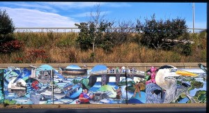 Mystic River Mural graces the side of I-93