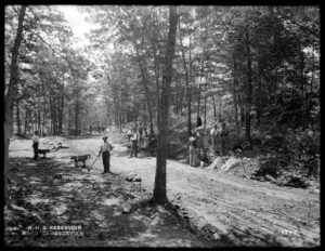 Roadway construction in the Fells, 1898